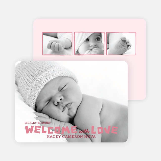 Baby Chaos Photo Birth Announcements - Tea Rose