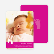 Baby Feet Birth Announcements - Magenta