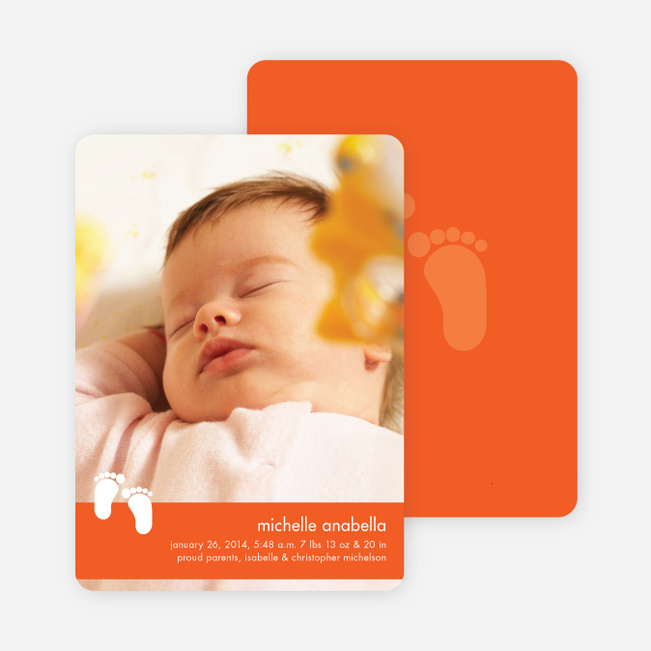 Baby Feet Birth Announcements - Tangerine