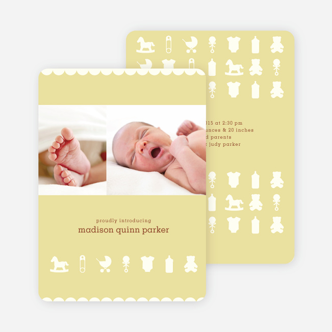 Baby Things 2 Photo Birth Announcements - Banana Bread