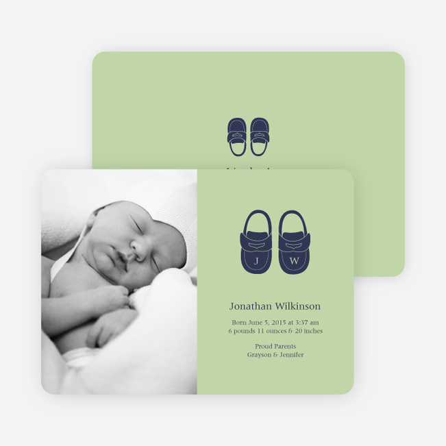 Baby's Got a New Pair of Shoes Photo Baby Announcements - Light Green