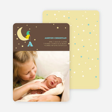 Bird on the Moon Photo Birth Announcements - Baby Blue