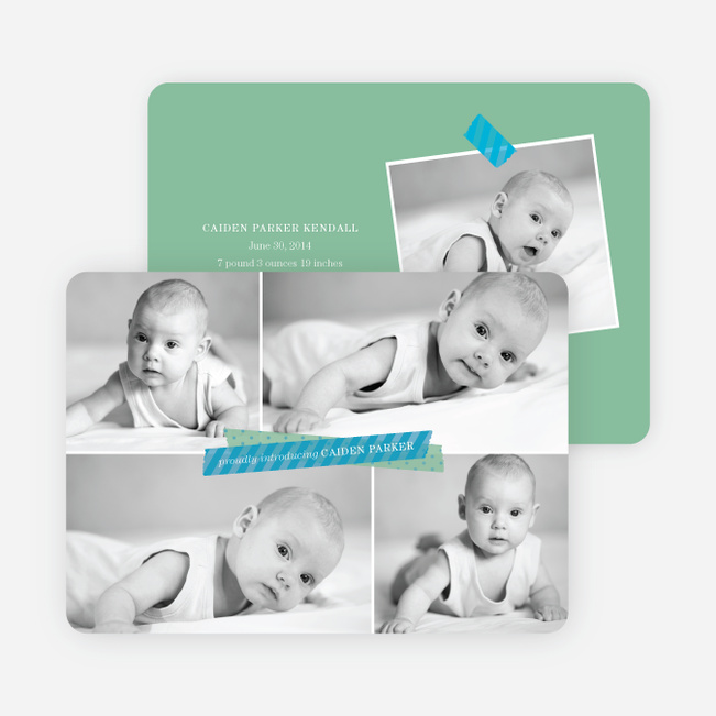 Birth Announcements Photo Collage - Blue