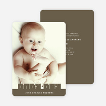Bold Modern Boys' Baby Announcement - Army Green