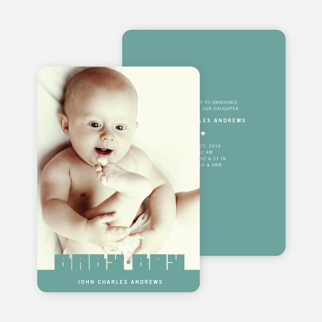 Bold Modern Boys' Baby Announcement - Sea Green