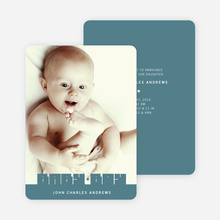 Bold Modern Boys' Baby Announcement - Steel Blue