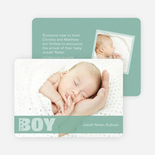 Boy Color Stripe Photo Baby Announcements - Light Green