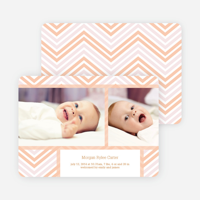 Chevron Stripes Baby Announcements - Orange