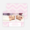 Chevron Stripes Baby Announcements - Pink
