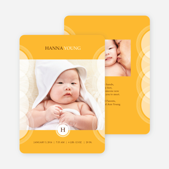 Circular Initials Photo Birth Announcements - Orange