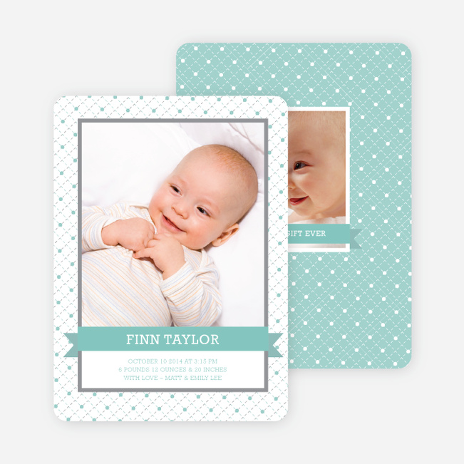 Classic Ribbon Frame Photo Birth Announcement - Aqua Baby