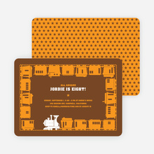Classic Train Birthday Party Invitation - Orange