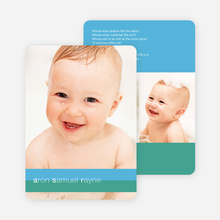 Colored Stripes Modern Birth Announcements - Cool Pool