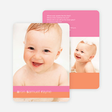 Colored Stripes Modern Birth Announcements - Strawberry Milkshake
