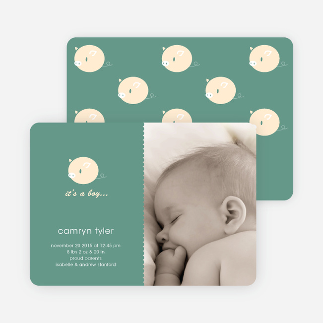 Darn Cute Piggy Baby Announcement - Sea Green