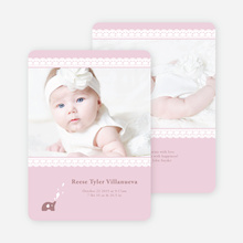 Elephant Lace Photo Birth Announcements - Pink Forever