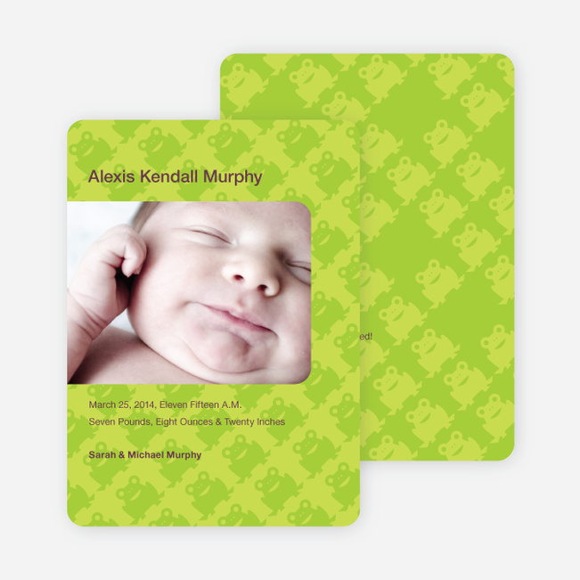 Frog Wallpaper Photo Birth Announcements - Light Lime