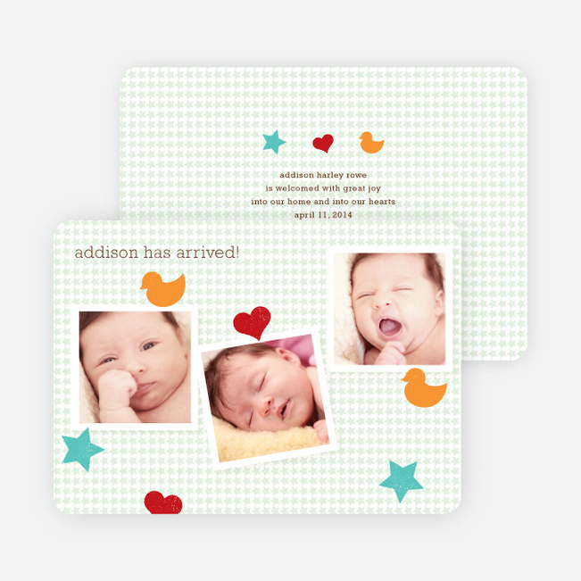 Fun Sticker Birth Announcements - Green