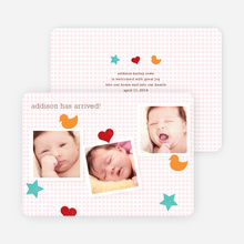 Fun Sticker Birth Announcements - Pink