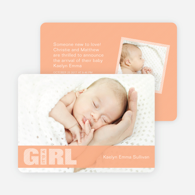 Girl Color Stripe Photo Baby Announcements - Orange