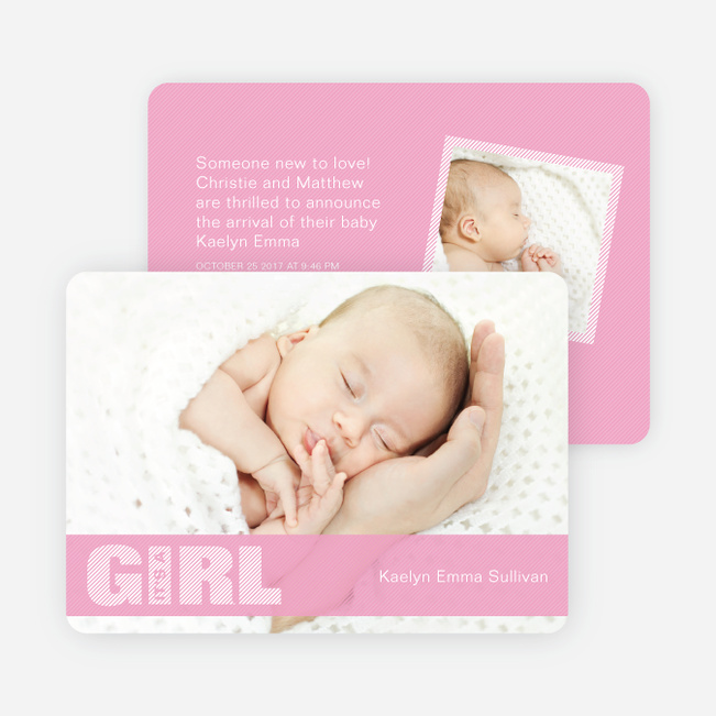 Girl Color Stripe Photo Baby Announcements - Pink
