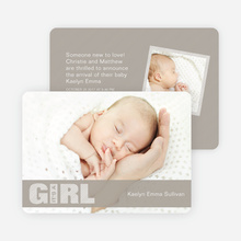Girl Color Stripe Photo Baby Announcements - Grey