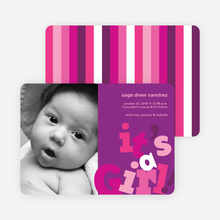 It's a Girl Topsy Turvy Birth Announcements - Magenta