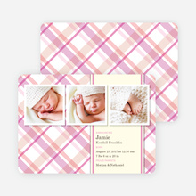Mad Plaid Multi Photo Birth Announcements - Cotton Candy