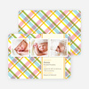 Mad Plaid Multi Photo Birth Announcements - Asparagus