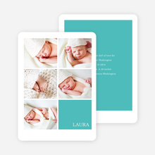 Modern Birth Announcements with Slots for 5 Photos - Blue