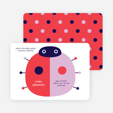 Modern Ladybug Baby Announcement - Cherry Red