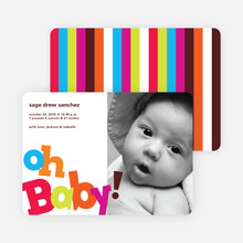 Oh Baby! Topsy Turvy Birth Announcements - Tomato Red
