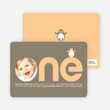 Penguin 1st Birthday Photo Invitation - Light Peach