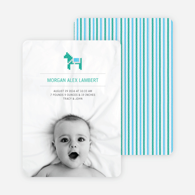 Quilted Horse Photo Birth Announcement - Baby Blue