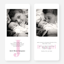 Simply Monogram Birth Announcements - Pink