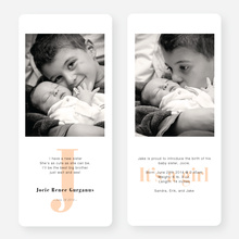 Simply Monogram Birth Announcements - Orange