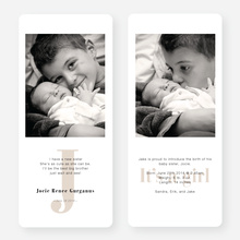 Simply Monogram Birth Announcements - Beige