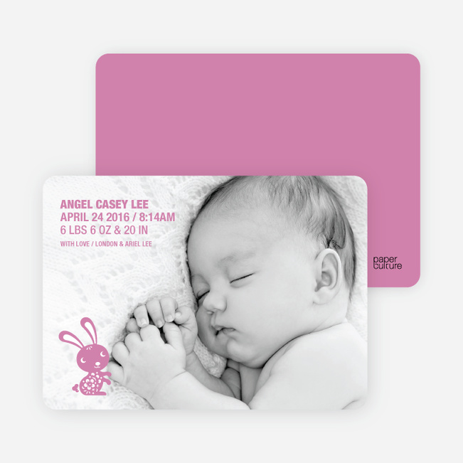 Simply Rabbit Photo Birth Announcements - Strawberry Vanilla