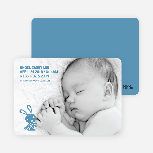 Simply Rabbit Photo Birth Announcements - Blue Rug Juniper