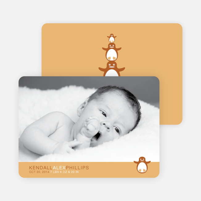 Stacked Penguin Photo Baby Announcement - Gold