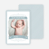 Stripes Frame Photo Birth Announcements - Blue