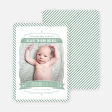 Stripes Frame Photo Birth Announcements - Green