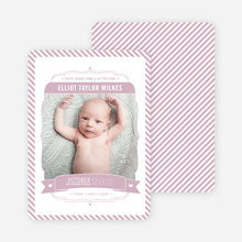 Stripes Frame Photo Birth Announcements - Pink