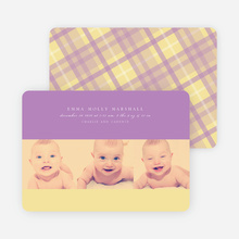Studio Triple Birth Announcements - Royal Violet