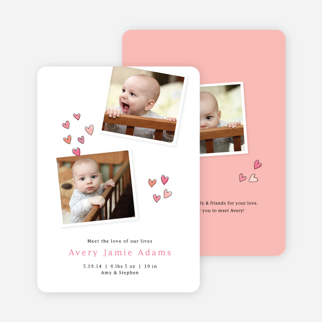 Sweethearts full of Love Birth Announcements - Pink