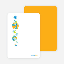 Thank you cards featuring a shower of presents. Printed on premium eco friendly paper - Periwinkle Blue