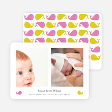 That S/He Blows Whale Birth Announcements - Pink Cream