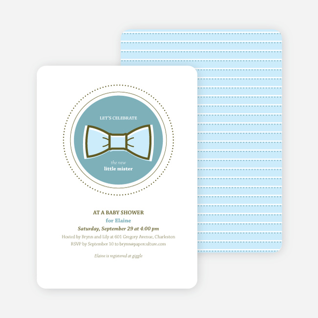 The Bowtie and the New Little Mister Baby Shower Invitations - Blue