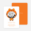 Tiger: Animal Photo Birth Announcement - Carrot Orange