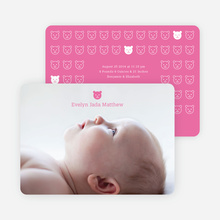 Tiny Teddy Bear Photo Birth Announcement Prints - Shocking Pink